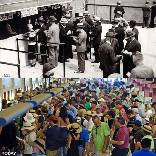 PLACE YOUR BETS: TOP - The 1931 Preakness crowd at the ticket window. (Baltimore Sun) *** BOTTOM - People wait to place their bets in the grandstand during the 134th Preakness Stakes. (Kenneth K. Lam/Baltimore Sun)
