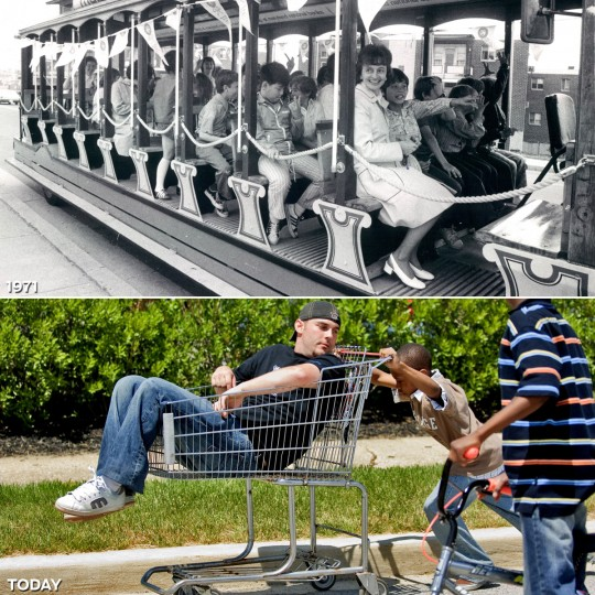 "GETTING THERE: TOP - Race-goers ride the Maryland National Bank trolley in 1971 (Baltimore Sun) *** BOTTOM - After a shopping cart joy ride, Jason Stewart, from Pittsburgh, hands cart pusher Myron Jackson (11 y/o) a crumpled wad of bills from his front pocket. ""Here you go. I don't even know how much this is,"" says Stewart with a slur. Area children, and adults alike, usually use shopping carts to tote beverage coolers up to the gate entrances of the 132nd Preakness Stakes. (Matt Roth/Baltimore Sun)"
