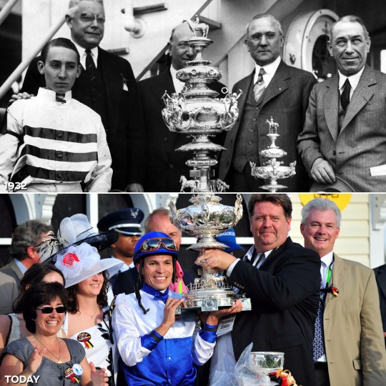 WOODLAWN VASE: TOP - Eugene James, Jockey Ritchie, Henry Horn, Mayor Jackson and E.R. Bradley in the 1932 Preakness winner's circle (Baltimore Sun) *** BOTTOM - Winning jockey Jesus Lopez Castanon and trainer Dale L. Romans hold the Woodlawn Vase after Shackleford won the 136th Preakness Stakes. (Monica Lopossay./Baltimore Sun)