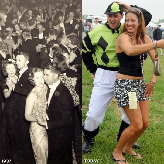DANCING CHEEK TO CHEEK: LEFT - Couples dance at the 1937 Preakness Ball. (Baltimore Sun) *** RIGHT - Infield activities find Vince Cerni from Baltimore (L) dancing with Nicole Pagan from Virginia Beach at the 134th Preakness Stakes. (Lloyd Fox/Baltimore Sun)