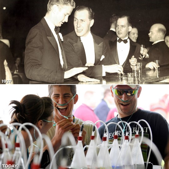 MOSEY UP TO THE BAR: TOP - Gentlemen order drinks at the 1937 Preakness Ball. (Baltimore Sun) *** BOTTOM - Morgan Wadell (L) of Ellicott City, Bryan Short (C) of Ashburn, Virginia and Scott Styles (R) of Laurel visit the infield Oxygen Bar at the 134th Preakness Stakes. (Lloyd Fox/Baltimore Sun)
