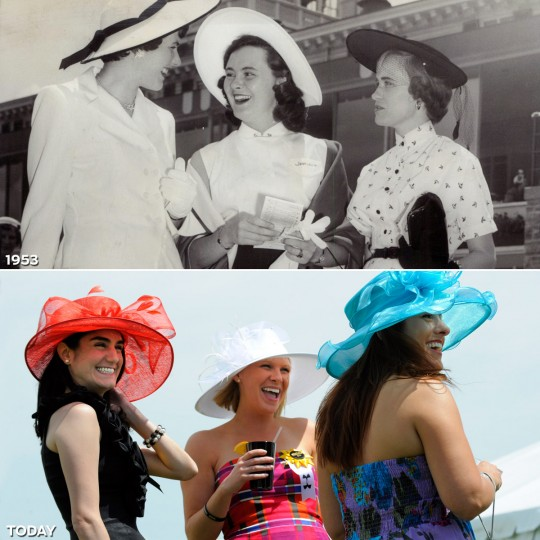 THREE LOVELY LADIES: TOP - Three ladies enjoy the day together at the 1953 Preakness Stakes. (Baltimore Sun) *** BOTTOM - Mary Kate Franchetti (L) of Columbia, Corleight Lajeskie (C) of Baltimore and Tracy Brothers (R) of Nashville, Tennessee have a good time in the corporate tent village in the 135th Preakness Stakes infield. (Lloyd Fox/Baltimore Sun)
