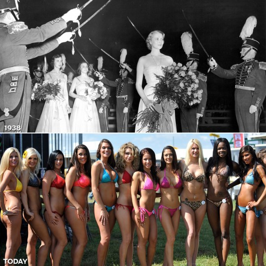 TRADITION OF BEAUTY: TOP - The 1938 Miss Preakness pageant. (Augusta Poe/Baltimore Sun) *** BOTTOM - Competitors in the bikini contest at the 136th Preakness Stakes. (Lloyd Fox/Baltimore Sun)