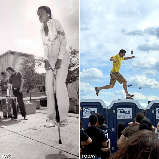 "JUMPING AROUND: LEFT - Vanessa Vereen, 13, hops on a pogo stick in a 1976 Preakness competition. (Baltimore Sun) *** RIGHT - Beer cans shower a Preakness-goer seen running on top of the portable toilets on Pimlico's infield at the 132nd Preakness Stakes. The stunt, known by some as ""Running the Gauntlet,"" typically ends with a security escort out of the park. (Matt Roth/Baltimore Sun)"