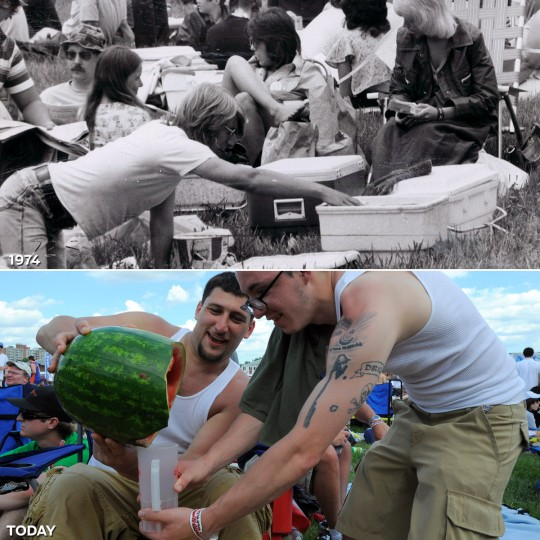 STORING THE LIBATIONS: TOP - A man reaches for a cold one from a cooler in the Preakness infield in 1974 (Baltimore Sun) *** BOTTOM - Colby Emmons (L) and Ermino Magno of Maine pour vodka from a watermelon in the infield at the 136th Preakness Stakes. (Lloyd Fox/Baltimore Sun)