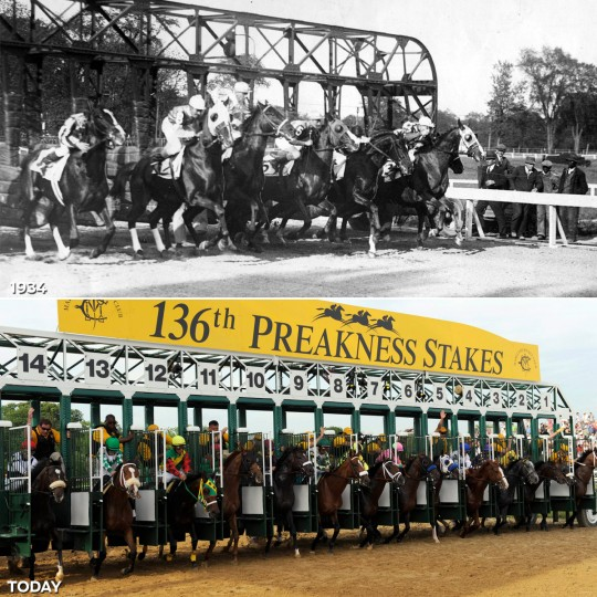 STARTING GATE: TOP - The start of Preakness on May 14, 1934. (Baltimore Sun) *** BOTTOM - The start of the 136th running of the Preakness Stakes at Pimlico Race Course on May 21, 2011 (Lauren Mackson/ US Presswire)