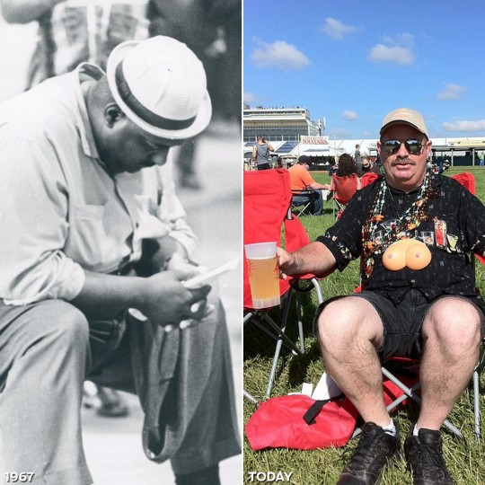 "PULL UP A CHAIR: LEFT - A man is deep in thought beside the Preakness clubhouse in 1967. (Baltimore Sun) *** RIGHT - @studiotempura tweets ""Keeping it classy on the #Preakness"" in 2011."