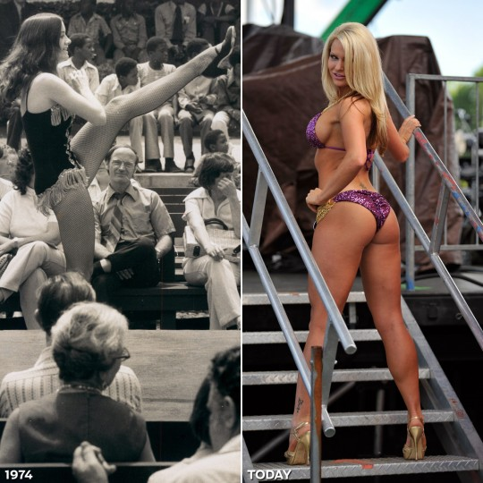 THAT'S TALENT: LEFT - Miss Preakness 1974, Sharon Brophy, dances on stage. (Baltimore Sun) *** RIGHT - Valene, a contestant in the bikini contest, poses for photos at the 136th Preakness Stakes. (Lloyd Fox/Baltimore Sun)