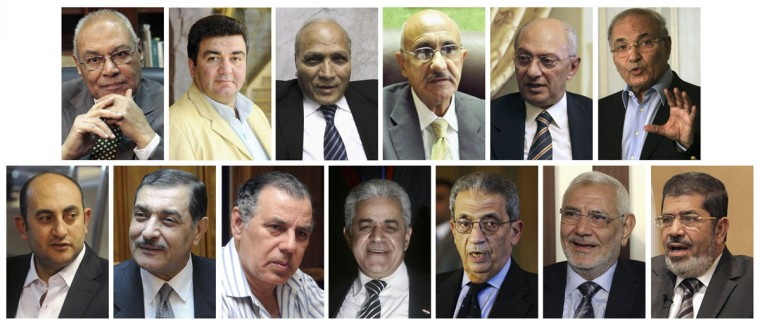 The 13 candidates for Egypt's 2012 presidential elections. The election has a first round of voting on May 23 and 24, and is expected to go to a run-off in June between the top two candidates. Top row (L-R): Mohamed Selim al-Awa, Mahmoud Hossam, Abdullah al-Ashaal, Mohamed Fawzi Eissa, Hisham al-Bastawisy and Ahmed Shafik. Bottom row (L-R): Khaled Ali, Hossam Khairallah, Abul Ezz al-Hariri, Hamdeen Sabahi, Amr Moussa, Abdel Moneim Abol Fotouh and Mohamed Mursi. (Staff, Stringer and Handout Images/Reuters)