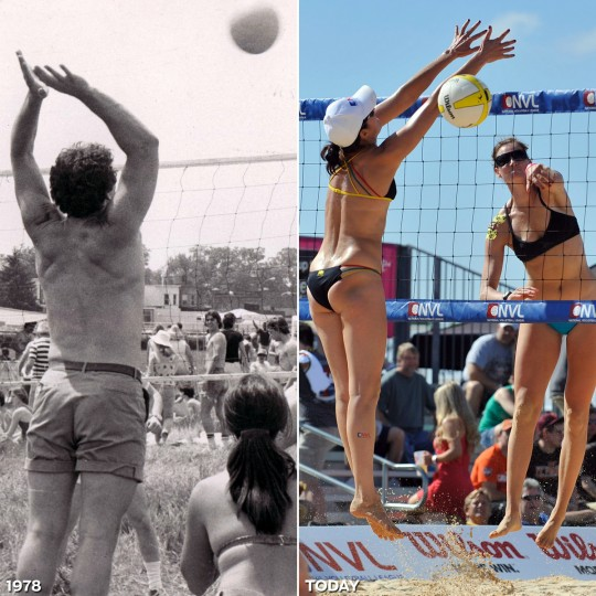 INFIELD VOLLEYBALL: LEFT - Fans while away the time before the race with volleyball on the Pimlico infield in 1978. (Baltimore Sun) *** RIGHT - Heather Lowe attempts to block Heather Hughes' hit during an infield game at the 136th Preakness Stakes. (Lloyd Fox/Baltimore Sun)