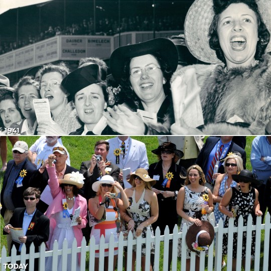 CHEERING ON THE RAIL: TOP - The Preakness crowd cheers during a race in 1941 (Baltimore Sun) *** BOTTOM - Race fans in the corporate tent area cheer on the horses during the 134th Preakness Stakes. (Jerry Jackson/Baltimore Sun)