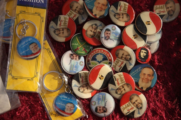 May 21, 2012: Pins featuring candidates for the Egyptian presidency, and Che, await buyers in Tahrir Square in Cairo, Egypt. (John Moore/Getty Images)