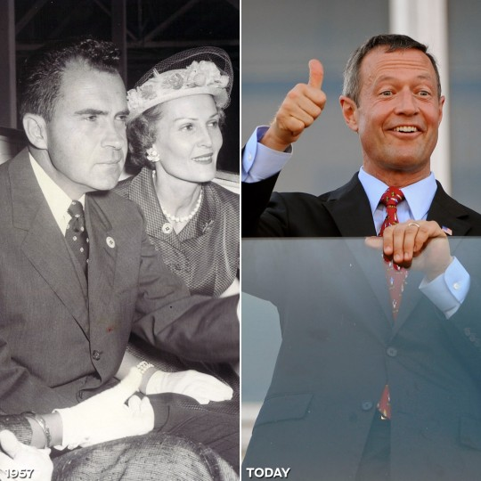 PREAKNESS POLITICS: LEFT - V.P. Richard Nixon and wife Patricia attend the Preakness festivities in 1957. (Baltimore Sun) *** RIGHT - Maryland Gov. Martin O'Malley gives the thumbs up right before the start of the 135th running of the Preakness Stakes. (Kenneth K. Lam/Baltimore Sun)