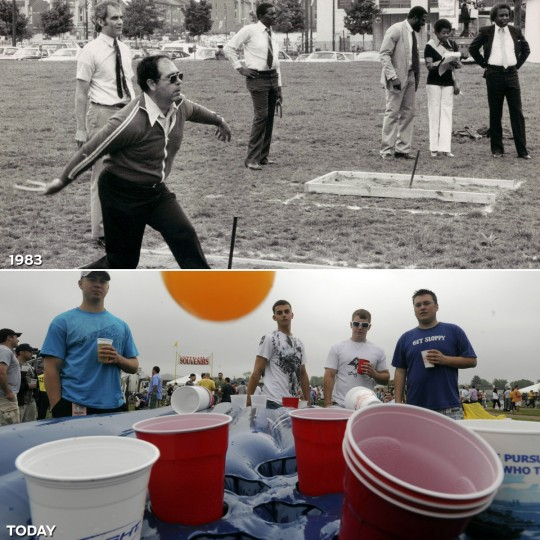 FRIENDLY GAMES: TOP - The 1983 Preakness Week horseshoe contest. (Baltimore Sun) *** BOTTOM - Tony Caruso (L), Travis Simpson (2nd L) and A.J. McDeavitt of Harrisburgh, Pennsylvania play a game of beer pong with Markham Rollins (R) of White Plains, New York on the 134th Preakness Stakes infield. (Lloyd Fox/Baltimore Sun)