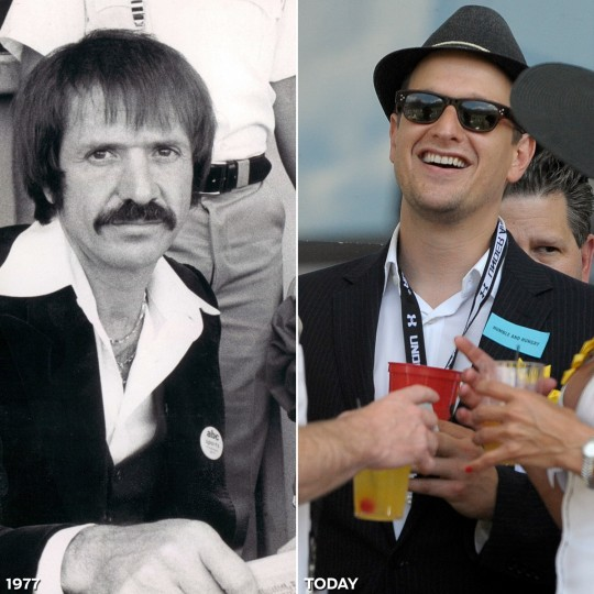 "CELEBS IN THE HOUSE: LEFT - Sonny Bono enjoying Preakness in 1977. (Baltimore Sun) *** RIGHT - Josh Charles, star of ""Good Wife,"" visits the corporate village on the infield prior to the 136th running of the Preakness Stakes. (Gene Sweeney/Baltimore Sun)"
