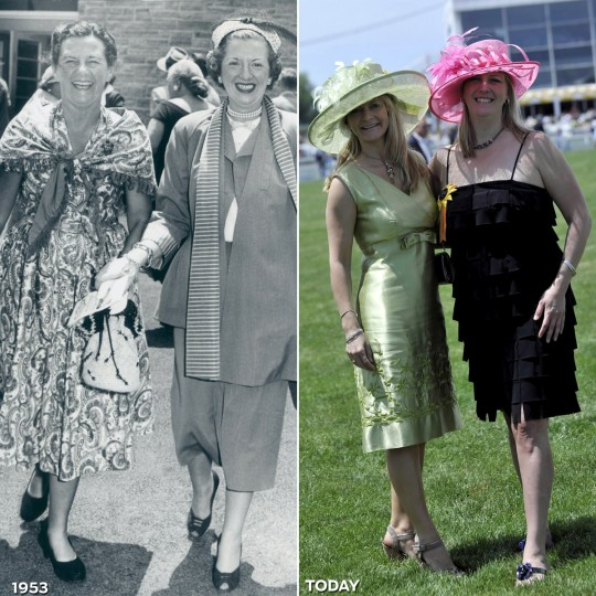 NICE HAT, GIRLFRIEND: LEFT - Preakness-goers Mrs. James Hepbron and Mrs. George Mahoney in 1953. (Baltimore Sun) *** RIGHT - Jill Doyle and Jolene Shelden switch hats as they prepared for the 135th Preakness Stakes. (Lloyd Fox/Baltimore Sun)
