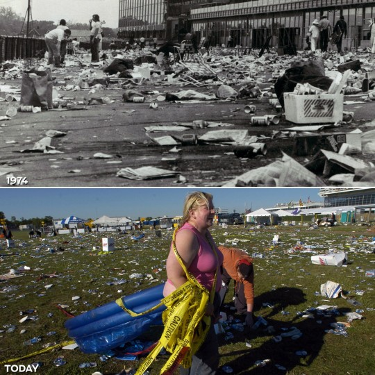 AFTERMATH: TOP - The Preakness infield aftermath in 1975. (Baltimore Sun) *** BOTTOM - Sarah Airey laughs as John Gisiner reaches for yet another discarded full can of beer as they scavenge for treasure the morning after the 132nd Preakness Stakes. (John Makely/Baltimore Sun)