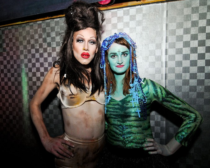 """Sharon Needles with the winner of the """"Sea Punk Realness"""" category of the costume contest. Game in the Night at Club Hippo. May 4. (Credit: Jen Mizgata/ jenmiz.biz)"""