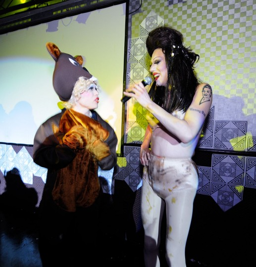 "Sharon Needles with the winner of the ""Sharon Needles lookalike"" category of the costume contest. Game in the Night at Club Hippo. May 4. (Credit: Jen Mizgata/ jenmiz.biz)"