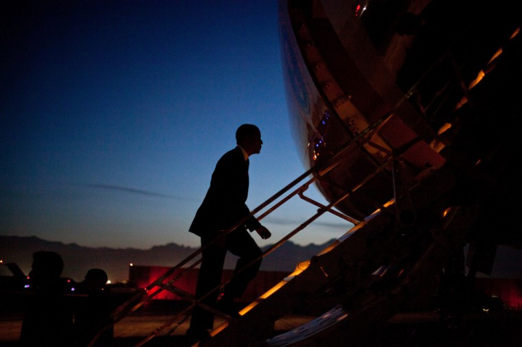 President Barack Obama boards Air Force One at Bagram Air Field, Afghanistan, as he departs for Washington, D.C., May 1, 2012. (Pete Souza/White House)