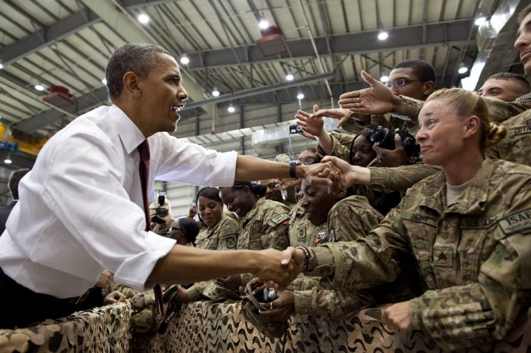 President Barack Obama greets U.S. troops following his remarks at Bagram Air Field, Afghanistan, May 1, 2012. (Pete Souza/White House)