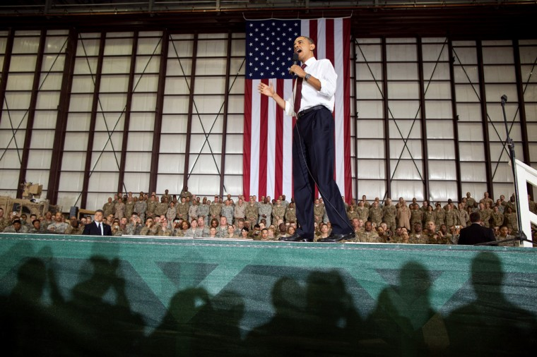 President Barack Obama delivers remarks to U.S. troops at Bagram Air Field, Afghanistan, May 1, 2012. (Pete Souza/White House)