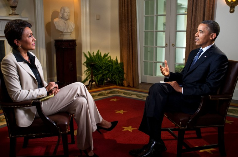 President Barack Obama participates in an interview with Robin Roberts of ABC's Good Morning America, in the Cabinet Room of the White House, May 9, 2012. (Official White House Photo by Pete Souza)
