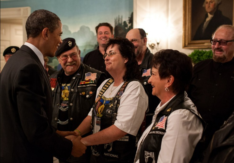 President Barack Obama greets members of the Rolling Thunder in the Diplomatic Reception Room of the White House, May 25, 2012. (Pete Souza/White House)