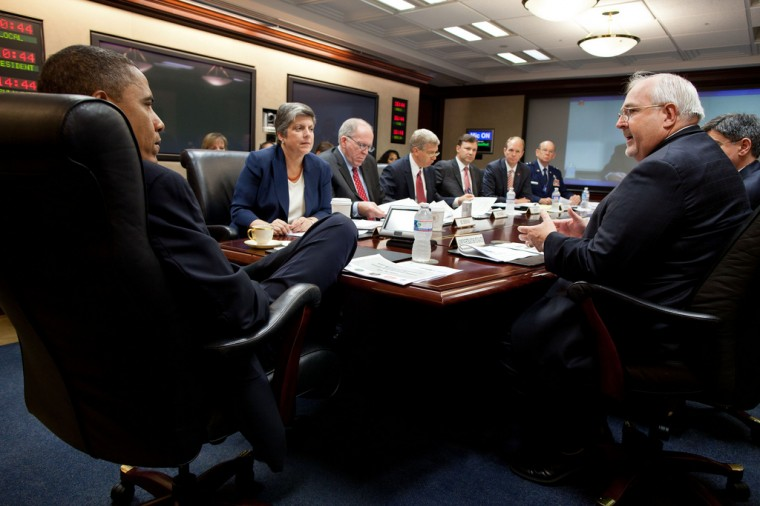 President Barack Obama participates in the annual hurricane preparedness briefing in the Situation Room of the White House, May 30, 2012. Seated clockwise from the President are: Homeland Security Secretary Janet Napolitano; John Brennan, Assistant to the President for Homeland Security and Counterterrorism; Daniel Poneman, Department of Energy Deputy Secretary; Eric Silagy, FP&L President; Bryan Koon, Florida Director of Emergency Management; Major General Emmett Titshaw, Florida Adjutant General; Chief of Staff Jack Lew; and Craig Fugate, Administrator of the Federal Emergency Management Agency. (Pete Souza/White House)