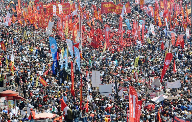 Thousands of Turkish protesters gather at Taksim square during a May Day rally in central Istanbul. Tens of thousands of workers gathered at the iconic square in the heart of Turkey's biggest city Istanbul to celebrate May Day. (Bulent Kilic/AFP/GettyImages)
