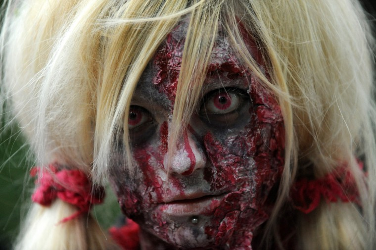 Bad face day.... A girl dressed as a zombie participates in a zombie walk in Prague. (Michal Cizek/AFP/GettyImages)