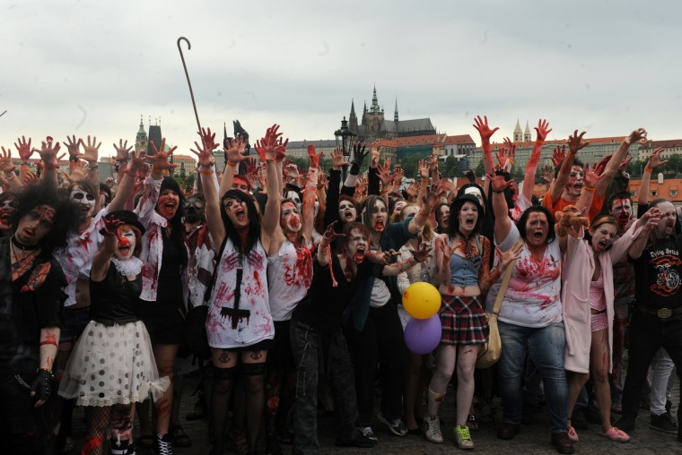 Youths participate in a zombie walk in Prague. (Michal Cizek/AFP/GettyImages)