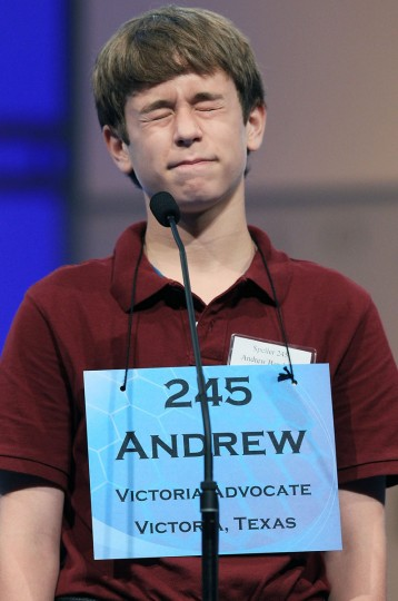 June 1, 2011: Andrew Joseph Bernhard, of Victoria, Texas, reacts after misspelling a word during the second round of the 2011 Scripps National Spelling Bee competition in National Harbor, Maryland. (Mark Wilson/Getty Images)