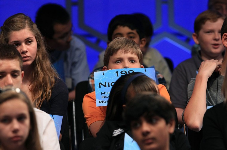 June 1, 2011: Spellers wait for their turn to spell a word, during the second round of the 2011 Scripps National Spelling Bee competition in National Harbor, Maryland. (Mark Wilson/Getty Images)