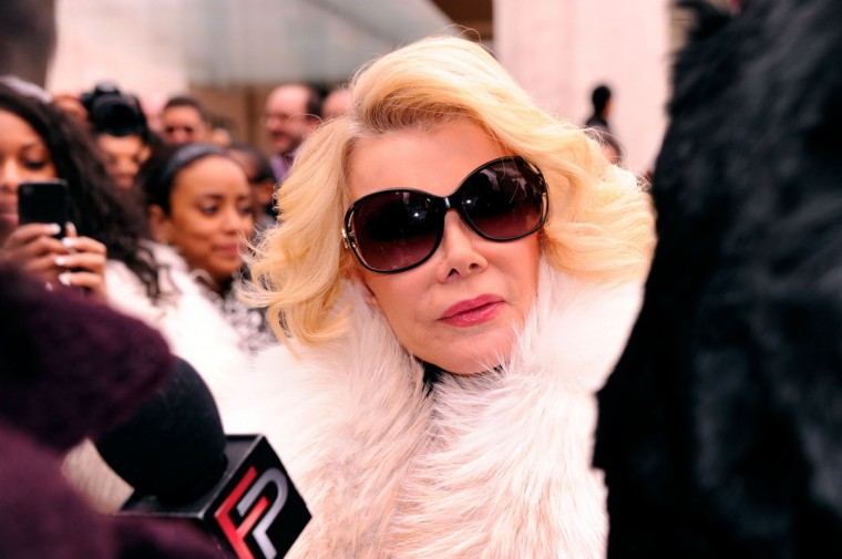 "Joan Rivers and daughter Melissa have made multiple television appearances together during Joan's long comedy career and were both recently contestants on ""Celebrity Apprentice."" Pictured: Rivers is seen around Lincoln Center during the Fall 2012 Mercedes-Benz Fashion Week on February 14, 2012 in New York City. (Andrew H. Walker/Getty Images)"