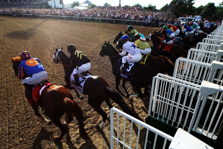 The field comes out of the gate to start the 138th running of the Kentucky Derby at Churchill Downs on May 5, 2012. (Andy Lyons/Getty Images)
