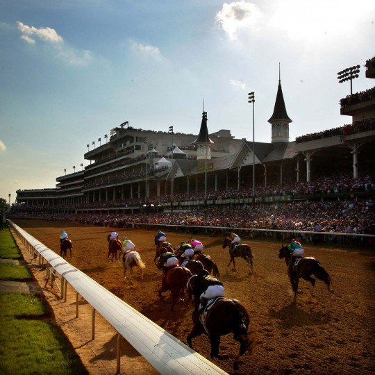 The field comes down the final stretch during the 138th running of the Kentucky Derby at Churchill Downs on May 5, 2012. (Rob Carr/Getty Images)