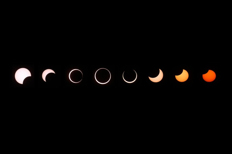 A composite of images of the first annular eclipse seen in the U.S. since 1994 shows several stages, left to right, as the eclipse passes through annularity and the sun changes color as it approaches sunset on May 20, 2012 in Grand Canyon National Park, Arizona. (David McNew/Getty Images)