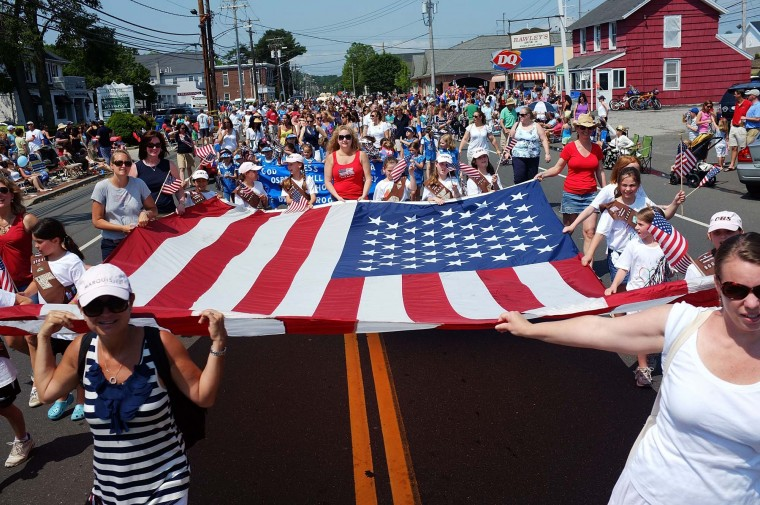 People participate in the annual Memorial Day Parade on May 28, 2012 in Fairfield, Connecticut. (Spencer Platt/Getty Images)