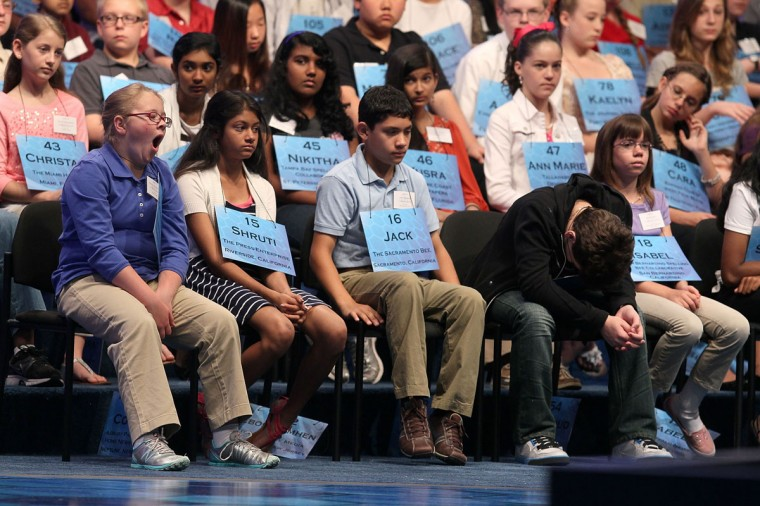 May 30, 2012: Spellers participate in the second round of the 2012 Scripps National Spelling Bee competition in National Harbor, Maryland. (Mark Wilson/Getty Images)