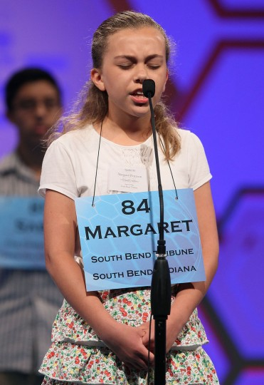 May 30, 2012: Margaret Flaherty Peterson of South Bend, Indiana spells a word correctly during the second round of the 2012 Scripps National Spelling Bee competition in National Harbor, Maryland. (Mark Wilson/Getty Images)