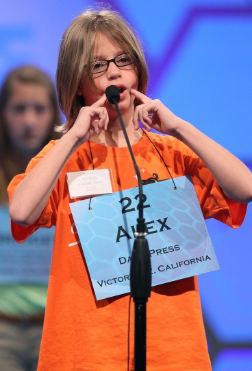 May 30, 2012: Alex Howe reacts to misspelling a word during the third round of the 2012 Scripps National Spelling Bee competition in National Harbor, Maryland. (Mark Wilson/Getty Images)