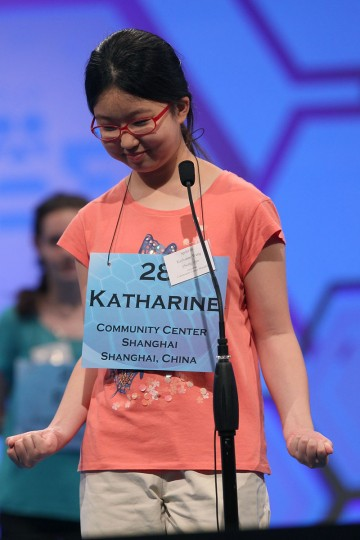 May 30, 2012: Katharine S. Wang reacts to spelling a word correctly during the third round of the 2012 Scripps National Spelling Bee competition in National Harbor, Maryland. (Mark Wilson/Getty Images)