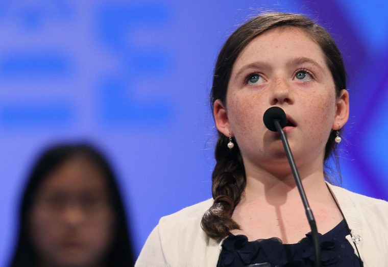 May 30, 2012: Kitty Shortt spells a word correctly during the third round of the 2012 Scripps National Spelling Bee competition in National Harbor, Maryland. (Mark Wilson/Getty Images)