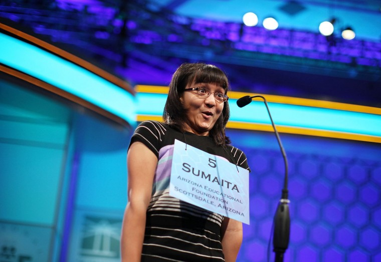 May 31, 2012: Speller Sumaita Mulk of Goodyear, Arizona, rejoices after she correctly spelled her word during the round 4 of the 84th annual Scripps National Spelling Bee competition at the Gaylord National Resort and Convention Center in National Harbor, Maryland. Fifty spellers have advanced to compete in the semifinals on the last day of the competition. (Alex Wong/Getty Images)