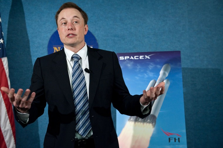 April 5, 2011: SpaceX CEO and PayPal Founder Elon Musk unveiles the Falcon Heavy rocket at the National Press Club in Washington. SpaceX is scheduled to launch its Dragon capsule to the International Space Station (ISS) on May 19, 2012. (Nicholas Kamm/AFP/Getty Images)