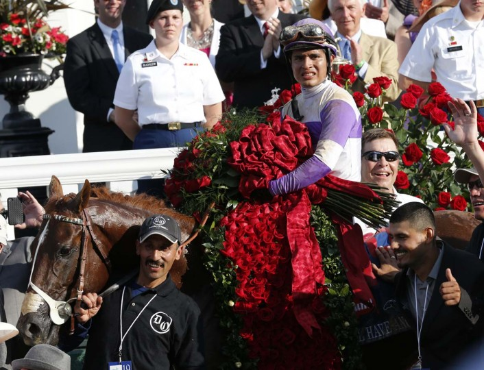 Mario Gutierrez, sits atop I'll Have Another in the winners circle after winning the 138th Kentucky Derby at Churchill Downs, Louisville Kentucky, May 5, 2012. (Mark Abraham/AFP/Getty Images)