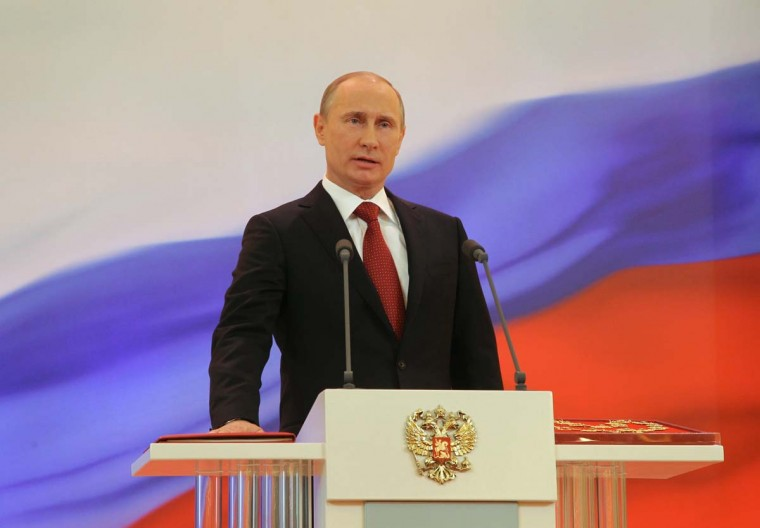 2012: Russia's president-elect Vladimir Putin takes his oath of office on May 7, 2012 to become Russia's president for a historic third mandate at a glittering ceremony inside the Kremlin. (Vladimir Rodionov/AFP/Getty Images)