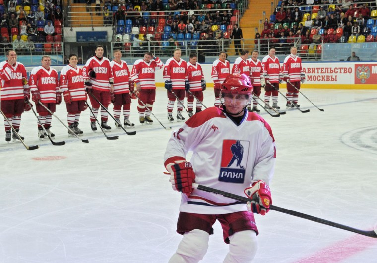 Russia's President Vladimir Putin (front) takes part in a game at the All-Russian ice hockey festival among amateur teams at Megasport Arena in Moscow, May 7, 2012. Putin played for Team of the Russian Amateur Ice Hockey League, which competed with the Russian Legends Team. (Alexei Nikolsky/AFP/Getty Images)