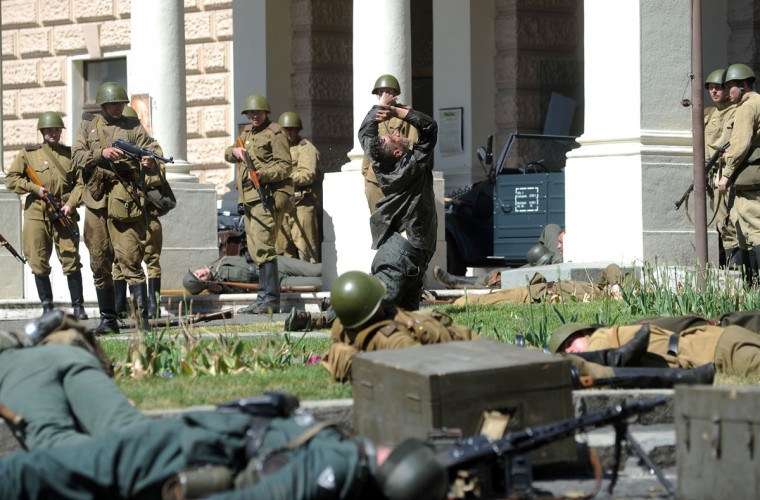 May 8, 2012: History enthusiasts dressed as Soviet soldiers and Nazi soldiers re-enact the liberation of Bratislava on during the commemoration of the 67th anniversary of the end of World War II. (Samuel Kubani/AFP/Getty Images)